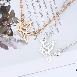 "Jewelry - 18"" Origami Crane Necklace"